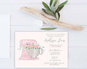 Kitchen Shower Invitation | watercolor kitchen mixer | floral mixer invitation