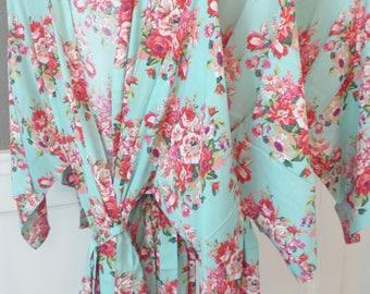 Mint Bridesmaid Robes, Bridesmaid Gift, Getting Ready Robes, Floral Kimono Bridesmaid Robe, Bridal Shower Gift, Bridal Robe, Floral Robe