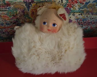 Vintage 1940s Child's Double Sided Fur Muff-Doll & Teddy Bear