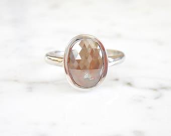 Bezel Diamond Ring, Peach Gray Rose Cut Cushion Diamond, Natural Diamond, 14k White Gold, Shiny Finish, Conflict Free, Bezel Engagement Ring