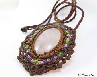 Rose quartz healing stone macrame pendant