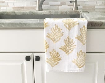 Tea towel, dish towel, hand printed, flour sack towel, block print towel, botanical, hostess gift, gift for her, gift for mom, reusable