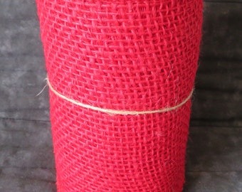 Red Colored Burlap ribbon,100% natural jute burlap,5.5 inch wide,15 ft roll,5yds,not wired,Valentine's