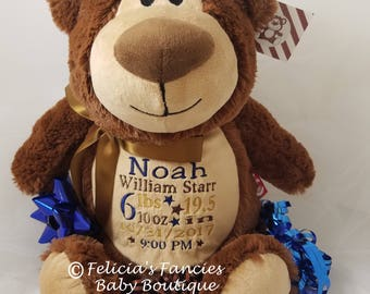 Personalized Stuffed Animal, Plush Bear Cubbie Stuffie with Birth Announcement New Baby Gift, Toy by Felicia's Fancies Baby Boutique