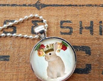 Bunny Pendant, Bunny Necklace, Rabbit Pendant, Rabbit Necklace, Bunny King, Bunny Jewelry, Rabbit Jewelry, Brown Rabbit Necklace