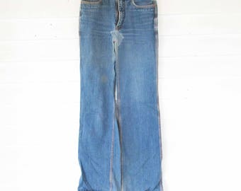BoHo 'Zeppelin' - Denim Bluejeans - 1970s Triple-stitched - Brass Zipper - 32-37 - Straight Leg - Made in the Philippines - 9