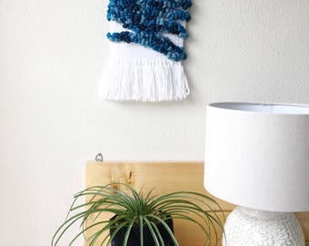 Funky wall hanging, blue woven art, housewarming gift, small hanging tapestry, unique home decor, modern art weaving, statement art piece