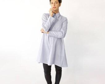 READY TO SHIP - Striped Tunic, Cotton Dress, Long Sleeve Tunic Dress, Oversized Tunic, Striped Top, Button Up Dress, Minimalist Tunic
