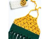 Pineapple Crop Top/ Pineapple Headband/ Pineapple Bow/ Pineapple top/ Pineapple shirt/ Girls crop top/ Girls bow/ Girls headband