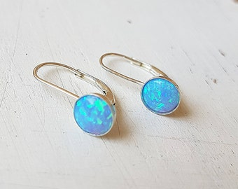 Opal Earrings,Sterling Silver Opal Earrings,Leverback hook,Drop and Dangle,Opal Earrings Silver,Blue Fire Opal Earrings,Size 6mm,Gift