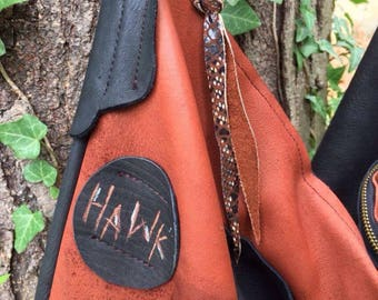 Hawk Hollow~~ Extra Large Distressed Deerskin Purse~ Black and Rust~ Dark Autumn Woods~ OOAK