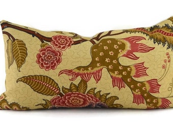 SINHALA LINEN PRINT, Martyn Lawrence Bullard Schumacher Fabric, 10x20, Tree of Life Floral Pattern Lumbar Throw Pillow Cover