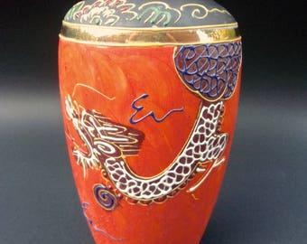 Hand Painted Moriage Japan Orange Dragonware Vase, Black Gold Trim, Vintage
