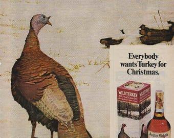 1976 Advertisement Austin Nichols Wild Turkey Bourbon Whisky Retro Vintage Wall Art Decor Nature Snow Pub Art Bar Decor Gift for Him