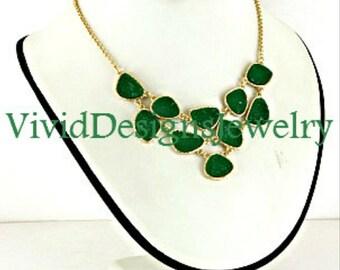 Emerald Green Statement Necklace- Green Druzy Stone Statement Necklace- Statement Jewelry- Gold Link- Unique- Bold Jewelry- OZ