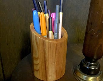 Repurposed Cypress Segmented Pencil Holder (Slanted Top)
