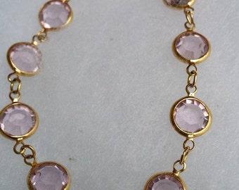 """Vintage Swarovski signed SAL 7-1/4"""" pink crystal bracelet"""