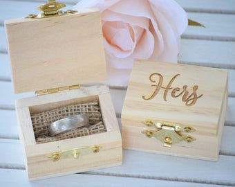 Engraved Wedding Ring Box - His and Hers Ring Box - Engraved Wooden Box - Bride & Groom's Ring Boxes - His and Hers Wedding Ring Holders