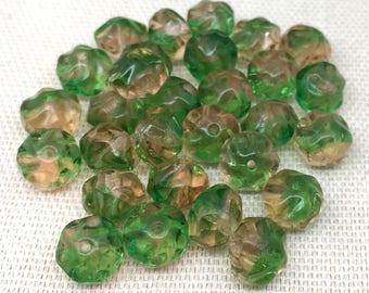 25 Vintage Textured Peach Green Baroque Glass Beads