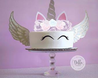 Unicorn Cake Topper, Unicorn, Unicorn Birthday, Unicorn Party, Unicorn Cake Topper, Unicorn cake, Cupcake, Unicorn Decoration, Gold, Purple