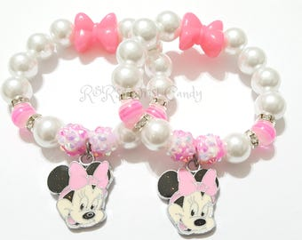 Minnie Mouse Pink White Beaded Bracelet Girls Bracelet Pink Bow Charm Bracelet Stocking Stuffers Custom Handmade Beaded Jewelry