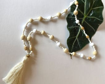 Handmade Beaded Necklace with Tassel