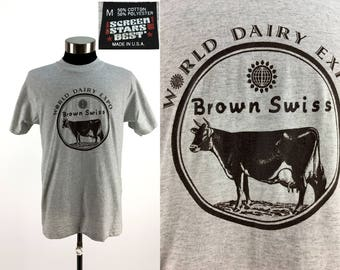 Vintage 90s World Dairy Expo BROWN SWISS T-Shirt MEDIUM // Livestock // Agriculture // Farming // Cow // Cattle // 4-H // Got Milk // M
