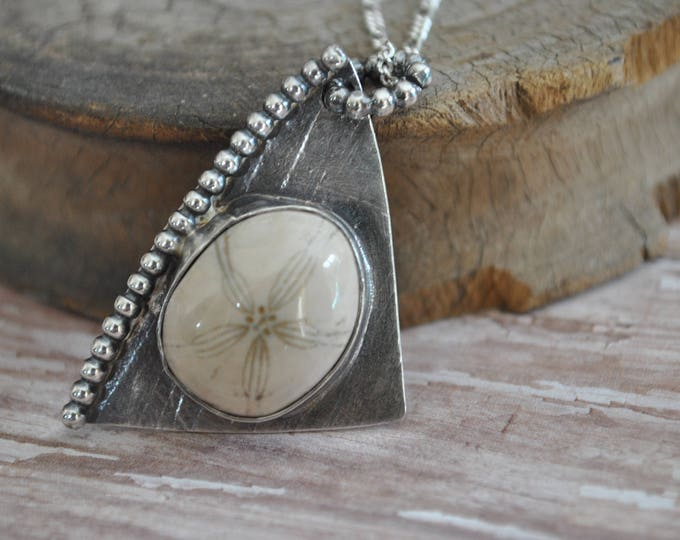 Fossilized sand dollar stone and sterling silver pendant necklace, metal necklace, handcrafted