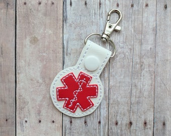 Allergy Alert Snap Key Fob Key Chain, Choose Allergen Design, Embroidered on White Vinyl with Red Snap, Peanut, Dairy, Gluten, Fish, More