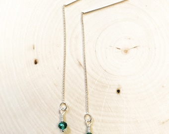 Sterling Silver Ear Threader Earrings With Green Round Beads.