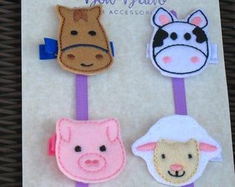 Farm Animals Embroidered Felt Hair Clip Set - FREE SHIPPING - Cow, Horse, Pig, Sheep Hair Clips - Farm Animals Party-Animal Felties-BowBravo