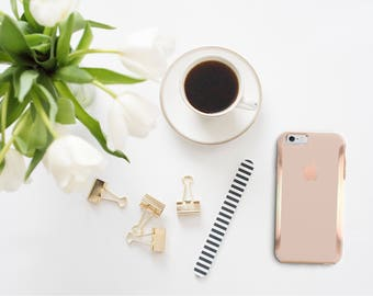 Toasted Wheat and Rose Gold Hard Case Otterbox Symmetry iPhone 6 / iPhone 7 / Galaxy S7 , Galaxy S8 , Galaxy S8 Plus - Platinum Edition