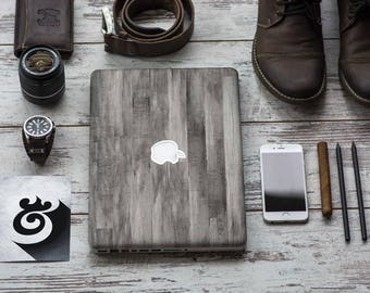 Gray Untreated Wood Vinyl Skin Decal for Apple Macbook Air , Macbook Pro , New Macbook Pro 13 Touch , Macbook 12 , New Macbook Pro 15 Touch