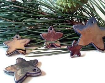 Golden Christmas gift tags, ceramic golden star tag, present tags, christmas tree tags, christmas packaging, gift packaging tags, favor tag