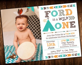 Wild One - One Year - First  Birthday TEEPEE POW WOW Photo Invitation