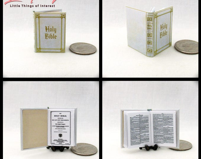 WHITE HOLY BIBLE King James Version Miniature Book 1:12 Scale Dollhouse Book Christening Wedding Confirmation Mass Church Christ God Jesus