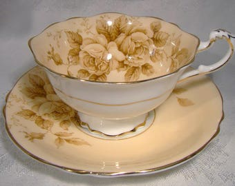 Paragon 97432/1 Brown Roses Cup and Saucer 1950s