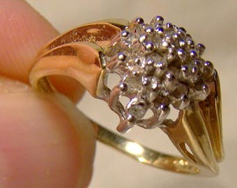 10K Diamond Cluster Ring 1980 Size 7-1/4