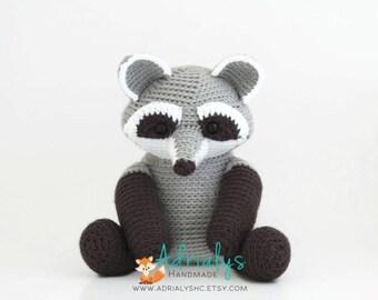Crochet Raccoon- Stuffed Raccoon- Raccoon Plush- Woodland Animals- Forest Animals- Handmade Raccoon- Crochet Toys- Made to Order