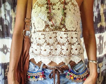 Beige Flower Power Lace Summer Top/Boho Lace blouse/summer top