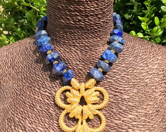 1980's Huge Goldtone Nautical Pendant with Genuine Lapis Beads Necklace