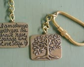 """Tree Of Life Quote Key Chain, Bronze Quote, """"I am always with you, Be Brave, Have Courage and Love Life"""", Exclusive Gift By UPcycled Works"""