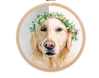 Custom Dog Embroidery - hoop embroidery with pet name