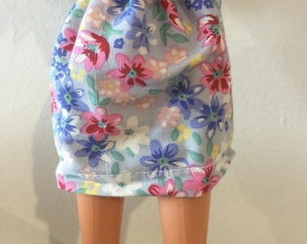 Barbie Doll Pink and Blue Flower skirt