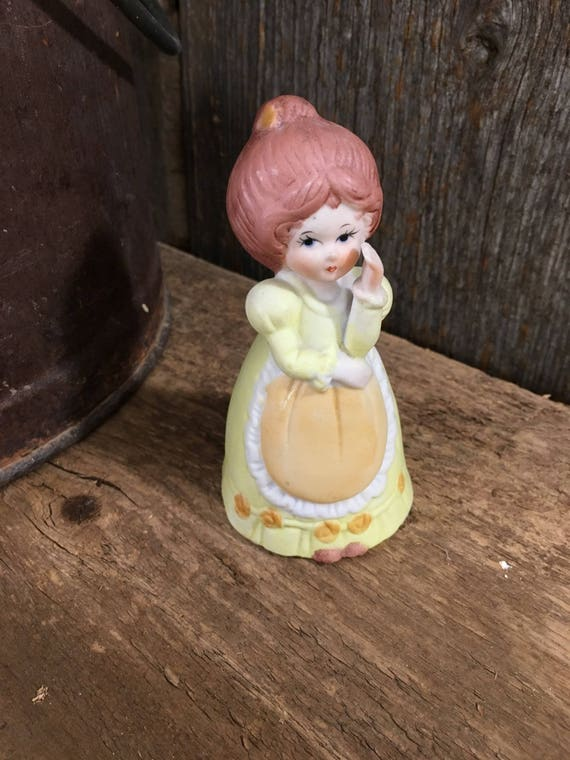 Adorable vintage Adorabelle from Jasco 1979, Fine quality Bisque Porcelain, bell collector, little girl bell, vintage yellow decor, girls