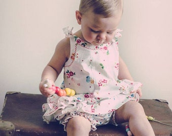 Ruffled baby dress sewing pattern, SUNNY DRESS & BLOOMERS  pdf sewing pattern, baby's dress and pants pattern 6 months to 6 years.