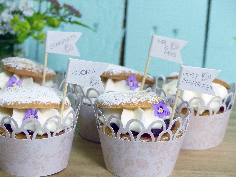 50 Cupcake Toppers Diamond Paper Flag Personalised Wedding Cupcake