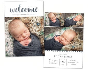 Birth Announcement Template - Baby Newborn Card Photoshop Template for Photographers - Watercolor Welcome CB122 5x7 card - INSTANT DOWNLOAD