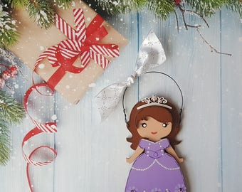 Sophia Christmas Ornament, Disney Princess, Elsa, Anna, Cinderella, Rapunzel, Jasmine, Snow White, Belle, Aurora, Moana, Tiana, Merida,Mulan
