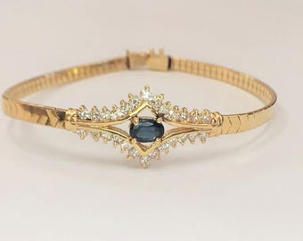 Vintage Sapphire & Diamond Bracelet / 14k